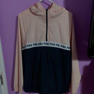 original pink windbreaker half zip